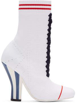 Fendi White Stretch Sock Boots