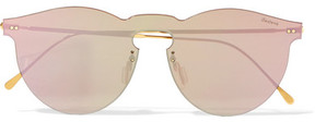 Illesteva Leonard Mask Round-frame Gold-tone Mirrored Sunglasses - Pink