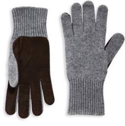 Brunello Cucinelli Perforated Cashmere & Suede Gloves