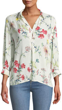 Chelsea & Theodore 3/4-Sleeve Floral-Prnt High-Low Blouse
