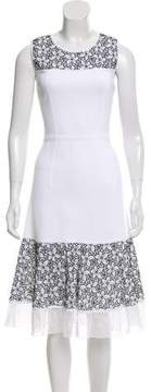 Andrew Gn Floral-Accented A-line Dress