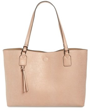 Street Level Snake Embossed Faux Leather Tote - Beige