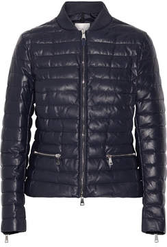 Moncler Buglose Quilted Leather Down Jacket - Midnight blue