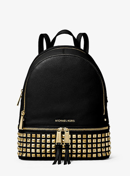 Michael Kors Rhea Medium Studded Leather Backpack - BLACK - STYLE