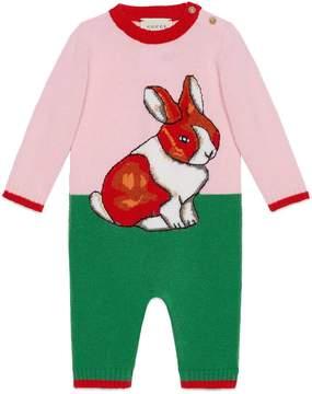 Gucci Baby wool sleepsuit with rabbit intarsia