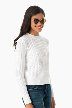 Demy Lee White Lindsay Cotton Crewneck Sweater