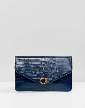 Asos DESIGN croc envelope clutch bag with ring detail