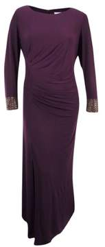 Calvin Klein Women's Long Sleeve Ruched Jersey Gown (22W, Aubergine)