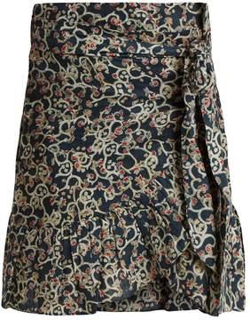 Etoile Isabel Marant Tempster abstract-print linen wrap skirt