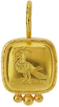 Elizabeth Locke 19K Gold Dove on Branch Venetian Glass Intaglio Pendant