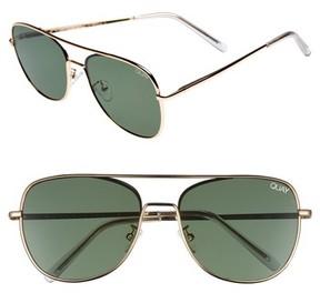 Quay Women's 'Running Riot' 58Mm Aviator Sunglasses - Gold/ Green