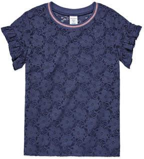 Arizona Short Sleeve Tipped Lace Tee w/ Cami - Girls' 4-16 & Plus