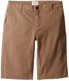 Hudson Beach Daze Raw Hem Sateen Chino Shorts in Dark Chino (Big Kids)