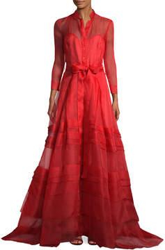 Carolina Herrera Women's Mesh Overlay Long Gown