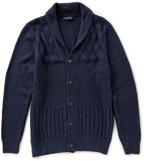 Roundtree & Yorke Shawl Patchwork Cardigan Sweater