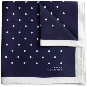 Charles Tyrwhitt Navy and White Classic Printed Spot Silk Pocket Square
