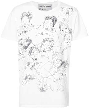 Enfants Riches Deprimes faces sketch print T-shirt
