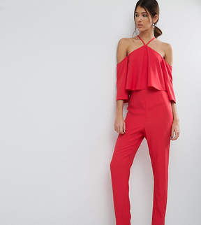 Bardot ASOS Tall ASOS TALL Jumpsuit with Ruffle and Halter Neck Detail