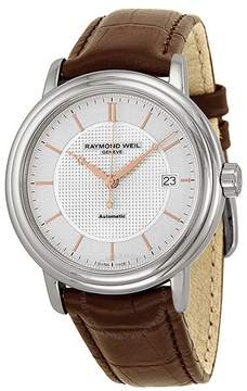 Raymond Weil Maestro Silver Dial Stainless Steel Brown Leather Automatic Men's Watch