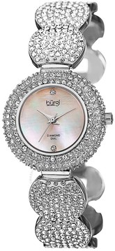 Burgi Mother of Pearl Diamond Dial Silver-tone Base Metal Ladies Watch
