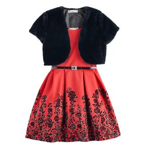 Knitworks Girls 7-16 Faux-Fur Bolero & Belted Flocked Skater Dress