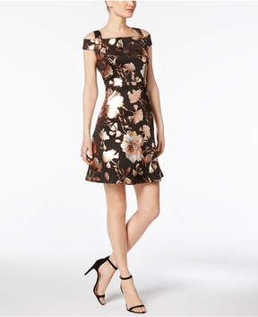 ECI Metallic Cold-Shoulder Dress