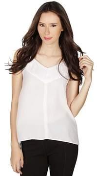 Dex Sleeveless V-neck Top In White/light Grey.