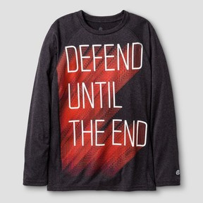 Champion Boys' Long Sleeve Graphic Tech T-Shirt Defend Until The End