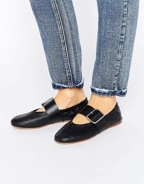 Vagabond Nea Black Leather Flat Buckled Strap Ballet Shoes