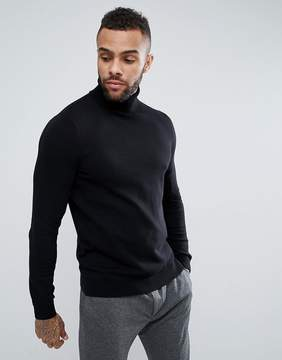 New Look Cotton Turtleneck Sweater In Black