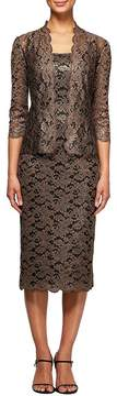 Alex Evenings Tea Length Lace Jacket Dress