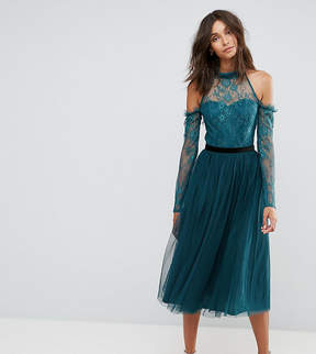 Asos Tall TALL PREMIUM Tulle Cold Shoulder Midi Prom Dress