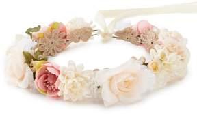 Edgehill Collection Little Girls Adjustable Flower Wreath Headwrap
