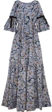 Erdem Ali Grosgrain-trimmed Floral-print Matelassé Gown - Blue