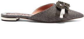 Rochas Crystal-logo hound's-tooth slipper shoes