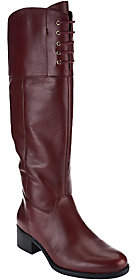 Isaac Mizrahi Live! Wide Calf Leather Bootsw/ Lace Detail