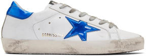 Golden Goose Deluxe Brand White and Blue Fluo Superstar Sneakers
