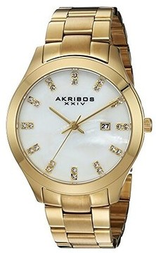 Akribos XXIV Mother of Pearl Gold-tone Ladies Watch