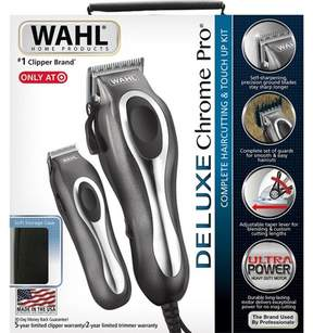 Wahl Deluxe Chrome Pro Complete Men's Haircut Kit With Finishing Trimmer & Soft Storage Case - 79650-1301