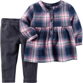 Carter's Baby Girls Plaid Peplum Jeggings Set
