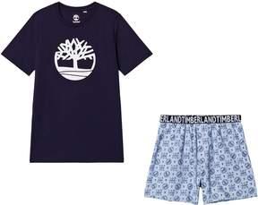 Timberland Kids Navy Logo Tee and Shorts Pyjamas Set