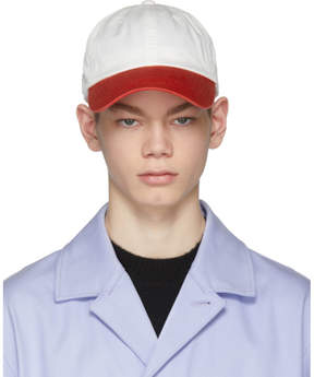 Acne Studios White and Red Carli Cap