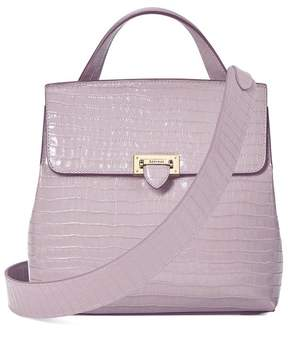 Aspinal of London Soho Backpack In Deep Shine Lilac Small Croc