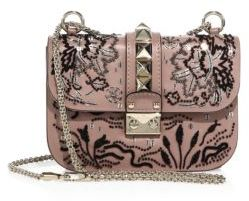 VALENTINO GARAVANI Lock Small Beaded Leather Shoulder Bag