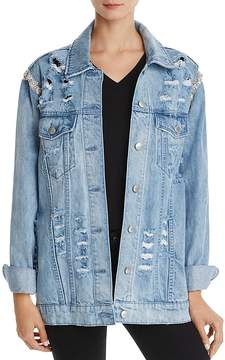 Aqua Embellished & Destroyed Denim Jacket - 100% Exclusive