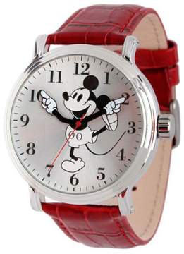 Disney Men's Black-and-White Mickey Mouse Moving Hands Red Croco Leather Strap Watch