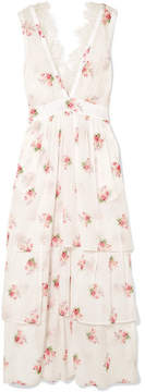 Brock Collection Dale Lace-trimmed Floral-print Cotton-voile Dress - White