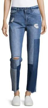 Noisy May Colorblocked Patchwork Ripped Jeans