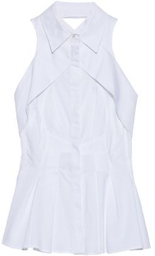 Antonio Berardi Layered Pleated Cotton-Poplin Top