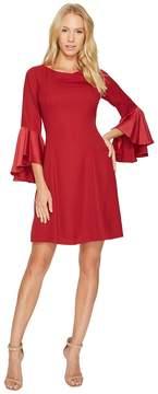 Adrianna Papell Crepe Back Satin Ruffle Sleeve Dress Women's Dress
